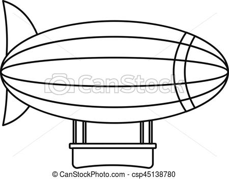 450x352 Blimp Aircraft Flying Icon, Outline Style. Blimp Aircraft Flying