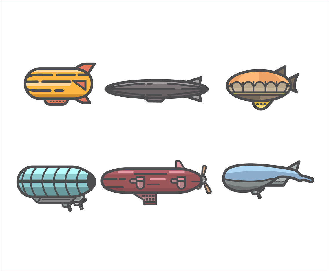 1136x936 Airship Vector In Thick Lines Vector Art Amp Graphics