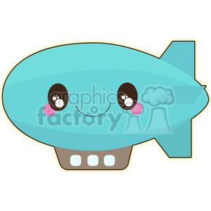 300x300 Royalty Free Blimp Cartoon Character Vector Clip Art Image 395037