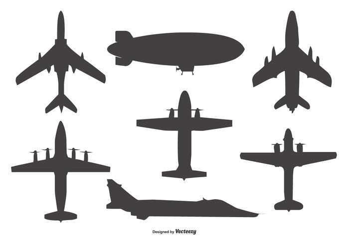 700x490 Vector Airplane And Blimp Silhouettes