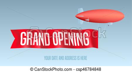 450x244 Vintage Blimp With Grand Opening Banner Vector Illustration
