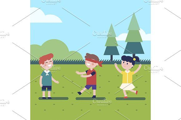 580x386 Kids Playing Outdoor Blindfold Game Graphics Kids Playing Outdoor