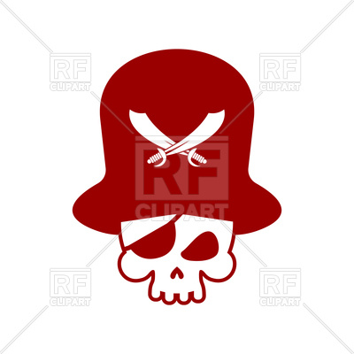 400x400 Pirate Emblem With Skull, Pirate Hat And Blindfold Vector Image