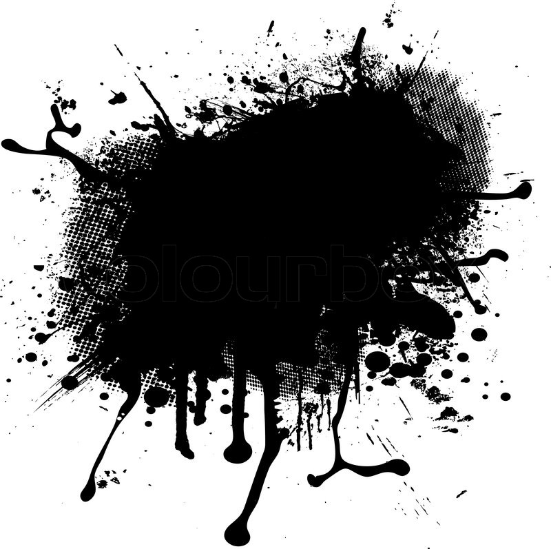 800x797 Illustrated Ink Blob Splat With Halftone Ideal As A Background