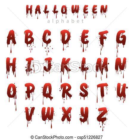 450x470 Halloween Bloody Alphabet Isolated On White Background. Horror