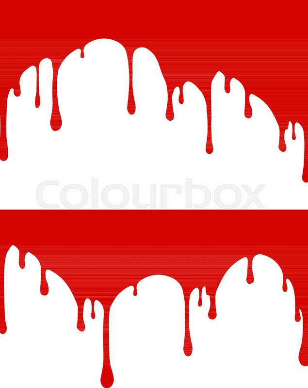 635x800 Pair Of Red Paint Or Blood Drips. Vector Illustration For Your