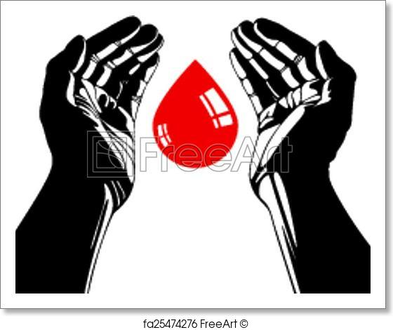 560x470 Free Art Print Of Hand With Blood Drop Vector Symbol. Freeart