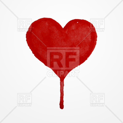 400x400 Red Hand Drawn Watercolor Heart With Blood Drop Vector Image