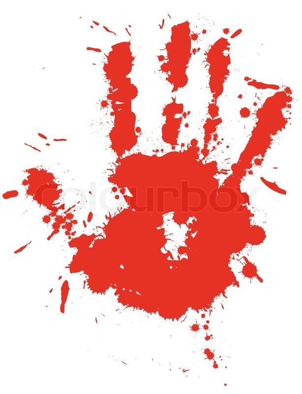 614x800 Red Drop Ink Splatter Hand Print, Blood Splash Vector. Gloss Brush