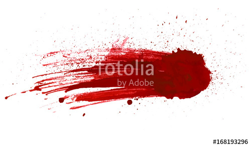 500x293 Blood Splatter Painted Vector Isolated On White For Design. Red