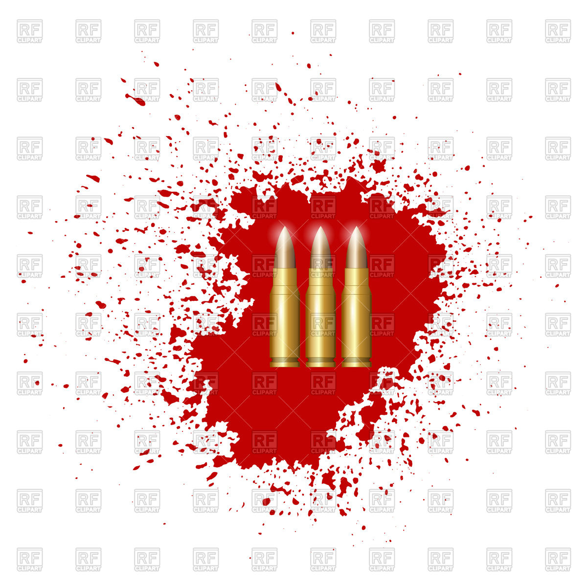 1200x1200 Bullet Set Isolated On Red Blood Splatter Vector Image Vector