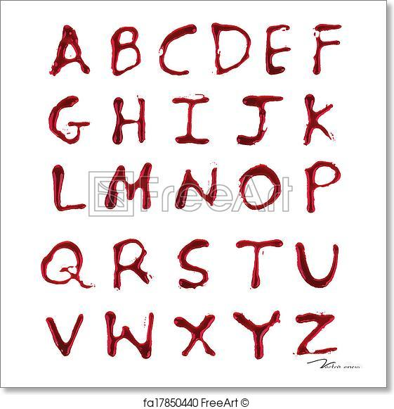 561x581 Free Art Print Of Letters A Z Dripping With Blood. Vector