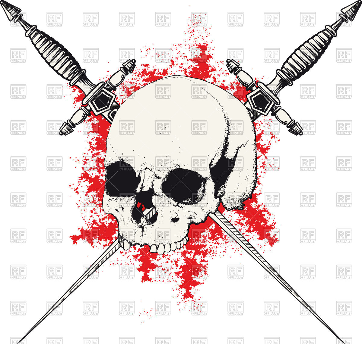 1200x1143 Skull With Two Crossed Daggers On Spot Of Blood Vector Image