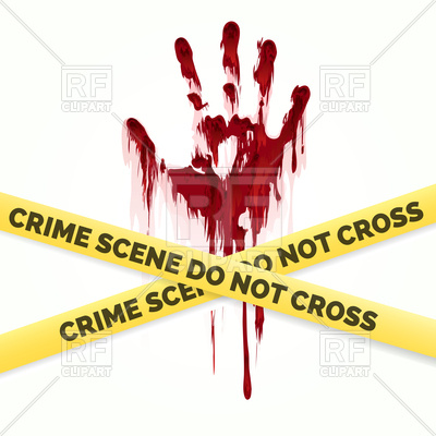 400x400 Bloody Handprint And Police Crime Scene Scotch Vector Image