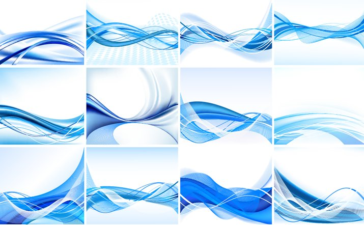 715x442 Blue Abstract Vector Background Set