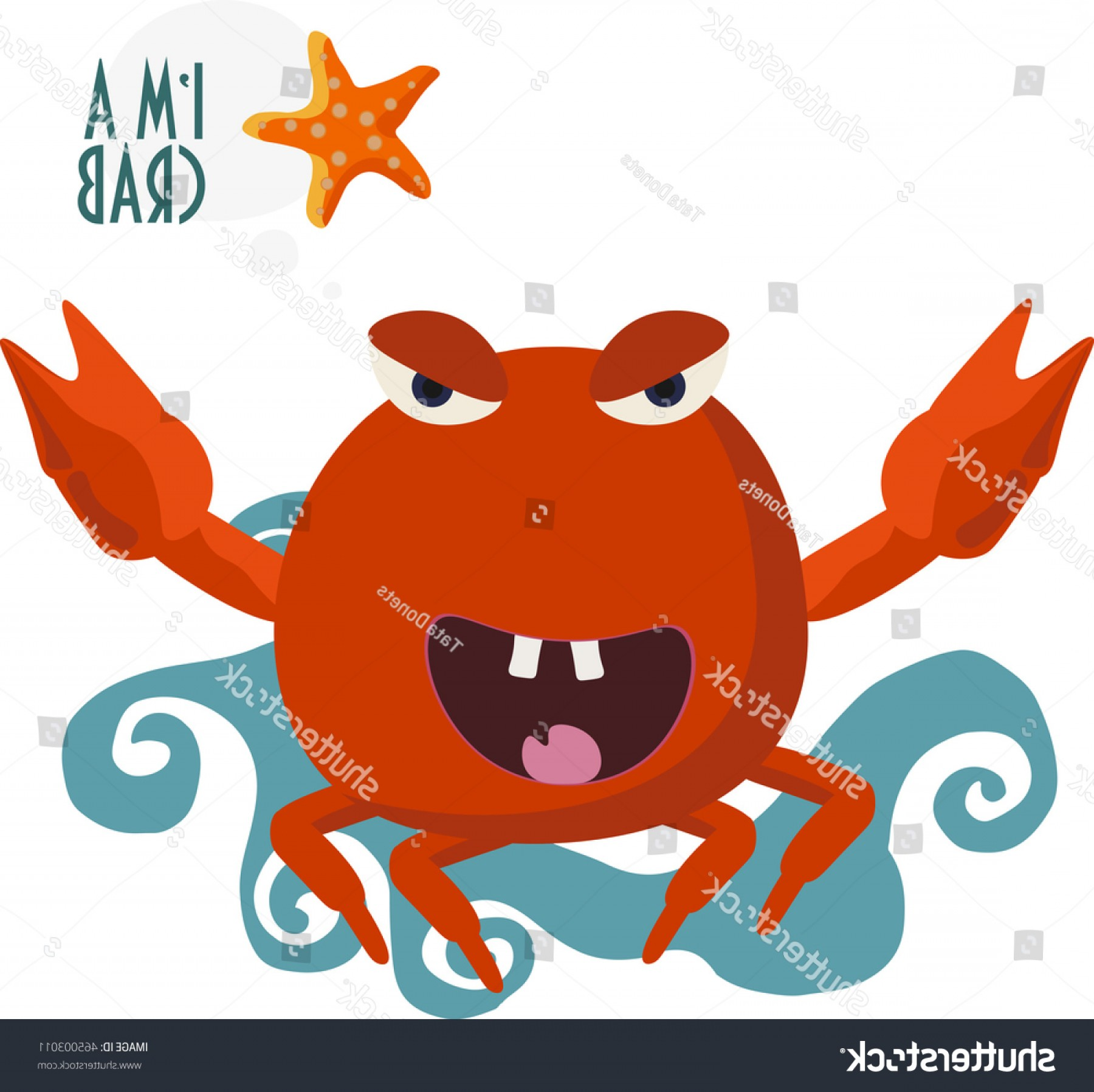 1800x1797 Crab Vector Illustration Red Starfish Blue Arenawp