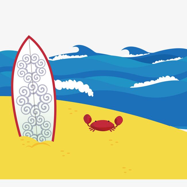 650x651 Creative Beach Surfboard Illustration Vector Material, Beach, Crab