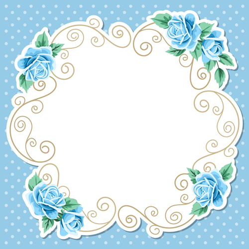 500x500 Blue Flower With Vintage Card Vector Free Download