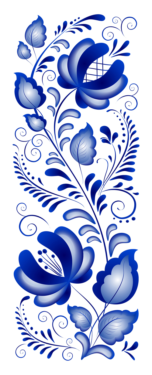 500x1235 Beautiful Blue Flower Ornaments Design Vector Free Download