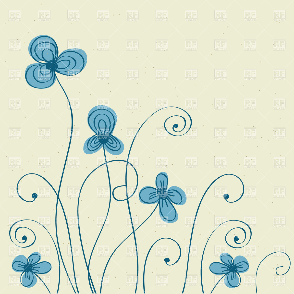 1200x1200 Hand Drawn Blue Flowers Vector Image Vector Artwork Of Plants