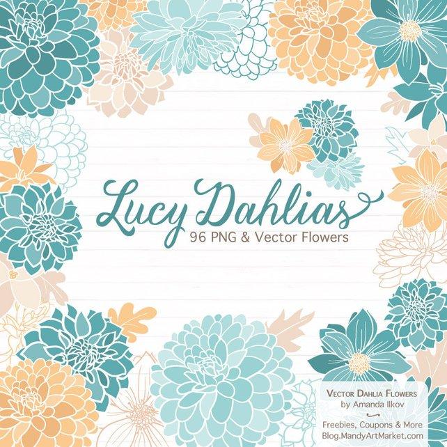 642x642 Lucy Dahlia Clipart Amp Vectors In Vintage Blue Blue Flowers Etsy