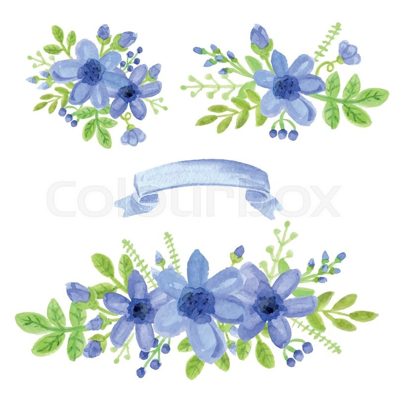800x800 Watercolor Blue Daisy Flowers,green Branches,leaves In Bouquet Set