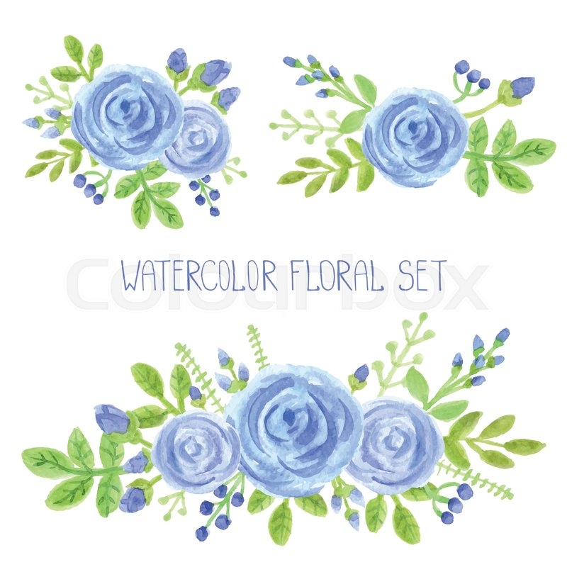 800x800 Watercolor Blue Flowers,green Branches,leaves Bouquet Set. Hand