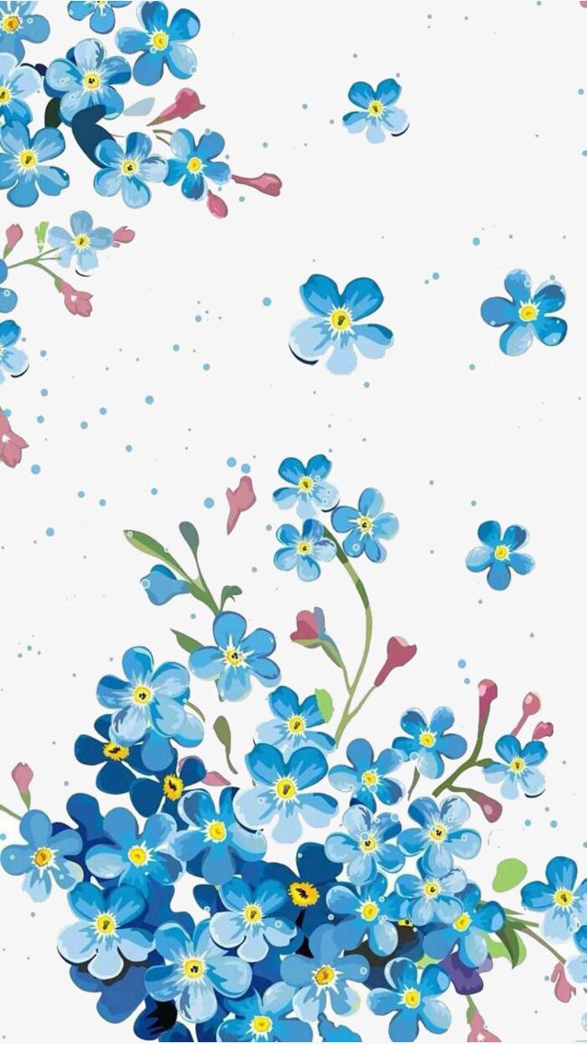 650x1156 Blue Flower Vector Illustration Background Material, Flower