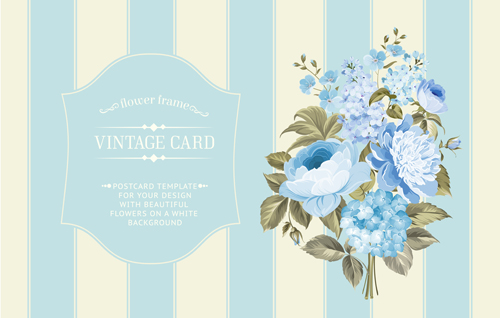 500x318 Blue Flower With Vintage Card Vectors Graphics Free Download