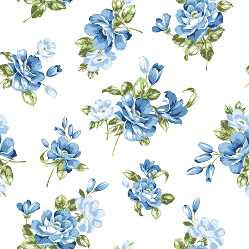 500x500 Blue Flowers Seamless Pattern Vector Free Download
