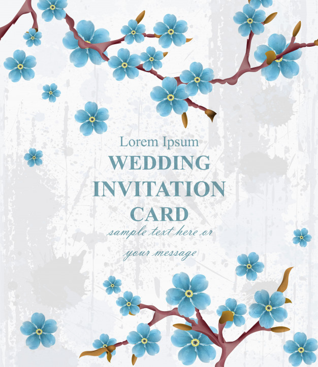 626x723 Hello Spring Vintage Background With Blue Flowers Vector Premium