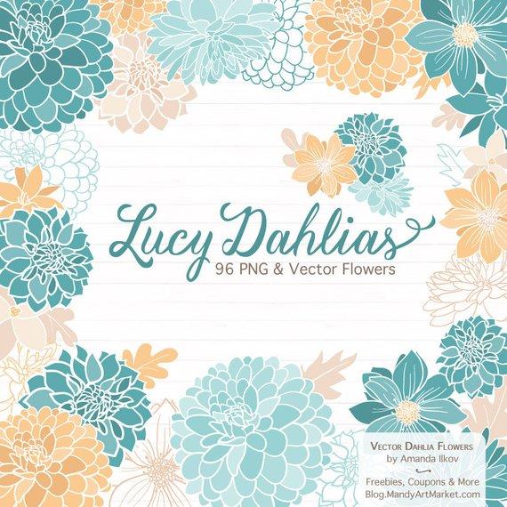 570x570 Lucy Dahlia Clipart Amp Vectors In Vintage Blue Blue Flowers Etsy