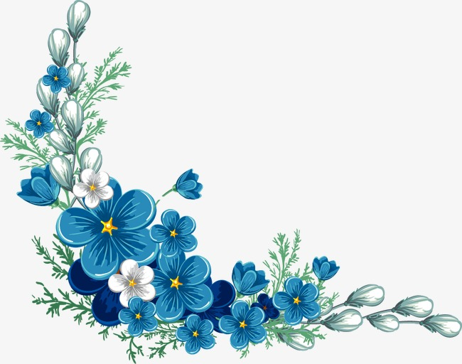 650x512 Painted Blue Flower Border, Painted, Blue Png And Vector For Free