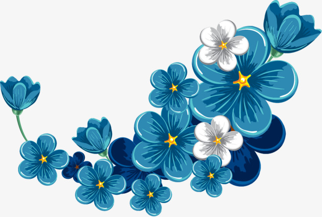 650x438 Vector Hand Painted Blue Flowers, Vector, Hand Painted, Blue Png