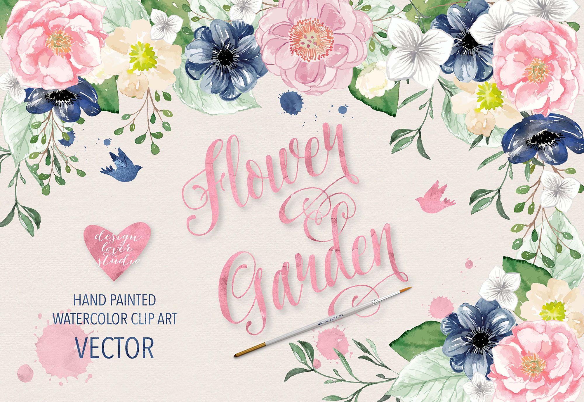 2000x1375 Vector Watercolor Navy Blue And Pink Flower Garden Clipart
