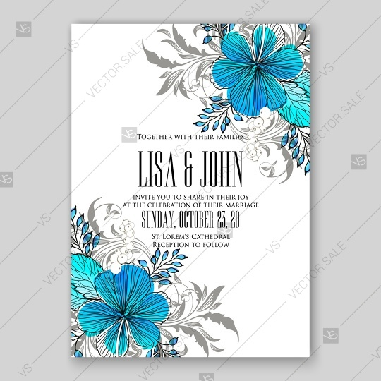 540x540 Beautiful Wedding Invitation Template With Tropical Vector Blue