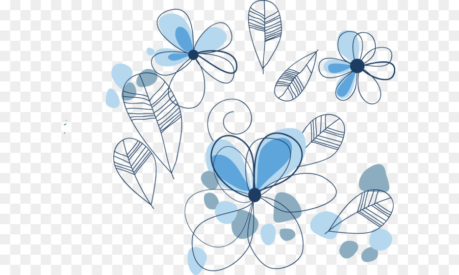 900x540 Vector Blue Line Drawing Flowers Png Download