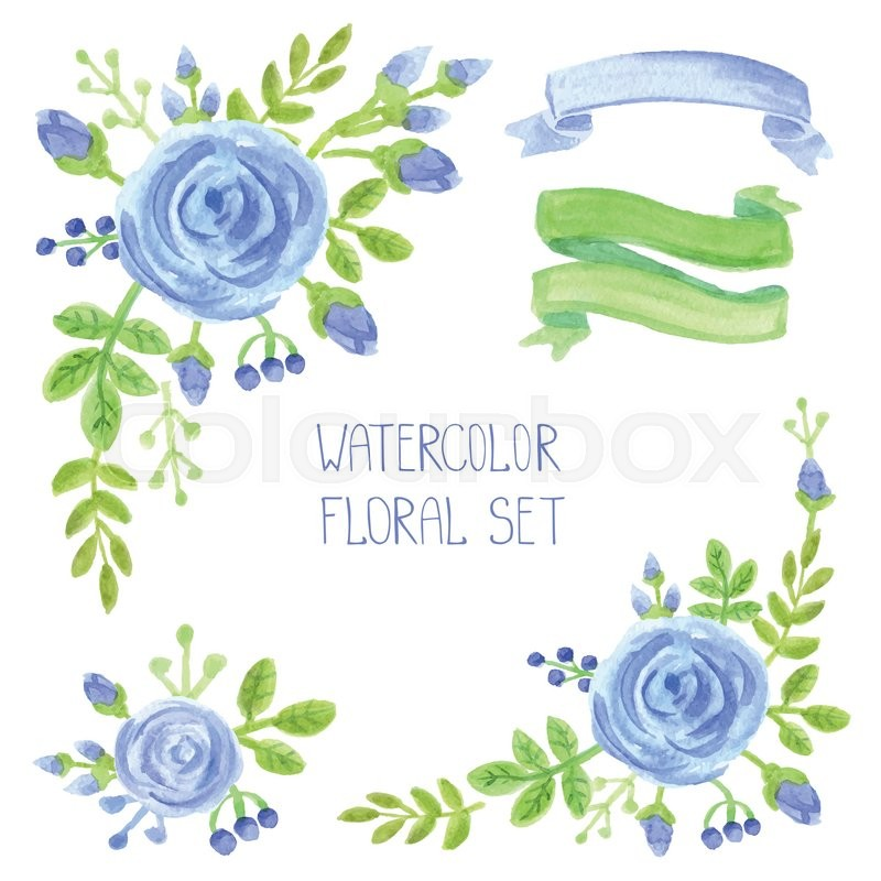 800x800 Watercolor Blue Flowers Bouquet ,corners Set. Hand Painted Berries