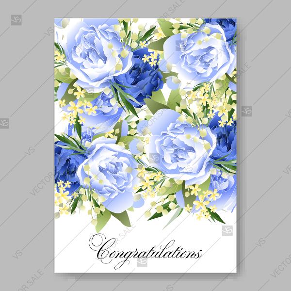 600x600 Wedding Invitation Blue Peony Spring Flower Vector Printable