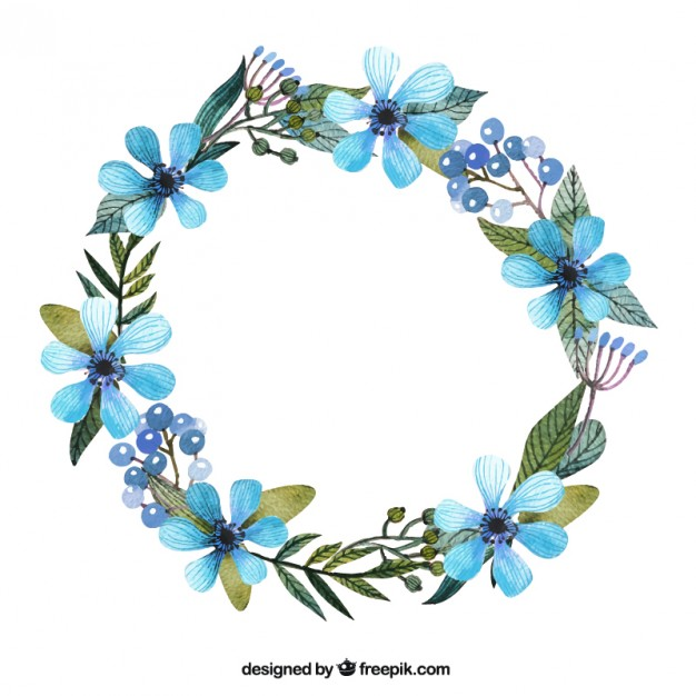 626x626 Wreath With Blue Flowers Vector Free Download