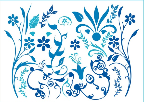 587x414 Blue Flower Swirls Free Vector Ai, Pdf Format Free Vector
