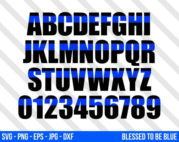 570x453 Thin Blue Line Alphabet Set Svg Vector Png Eps Jpg Dxf Blue Etsy