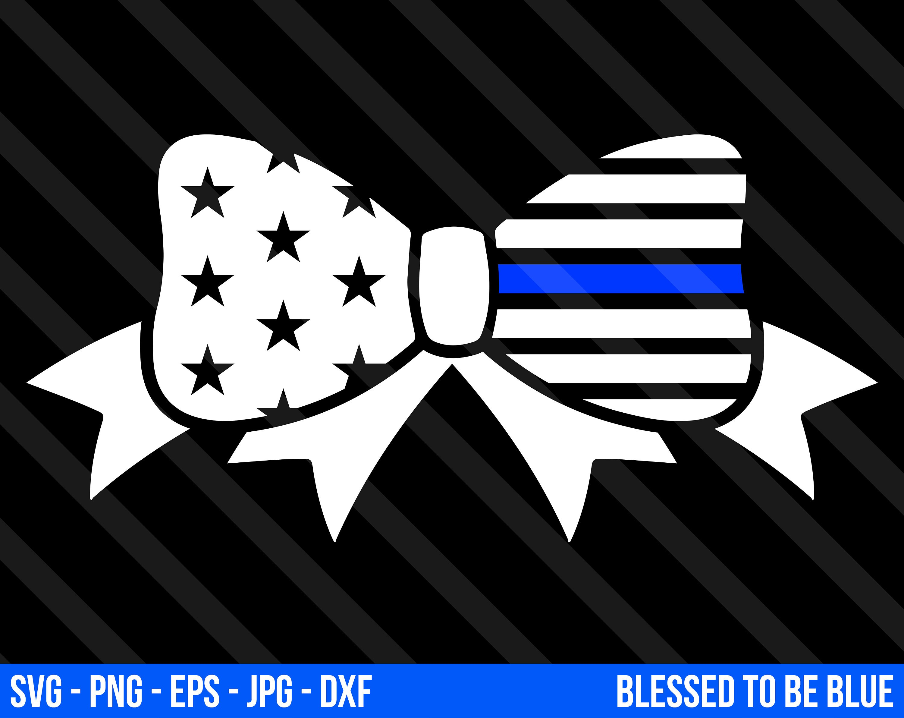 3000x2382 Thin Blue Line Bow Svg Vector Png Eps Jpg Dxf Blue Lives Etsy