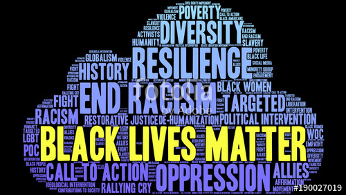 500x282 Black Lives Matter Word Cloud On A Black Background. Stock Image