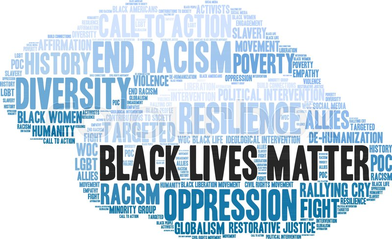 800x488 Black Lives Matter Word Cloud On A White Background. Stock