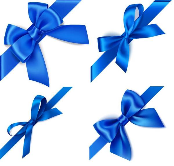 600x575 Blue Ribbon Bows Vector Material 02 Free Download