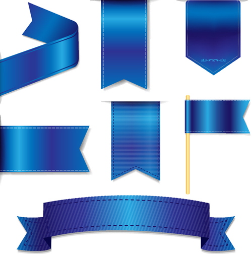 500x504 Bookmarks With Ribbon Blue Vector Material Free Download