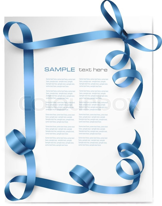 628x800 Christmas Background With Blue Gift Bow With Blue Ribbons Vector