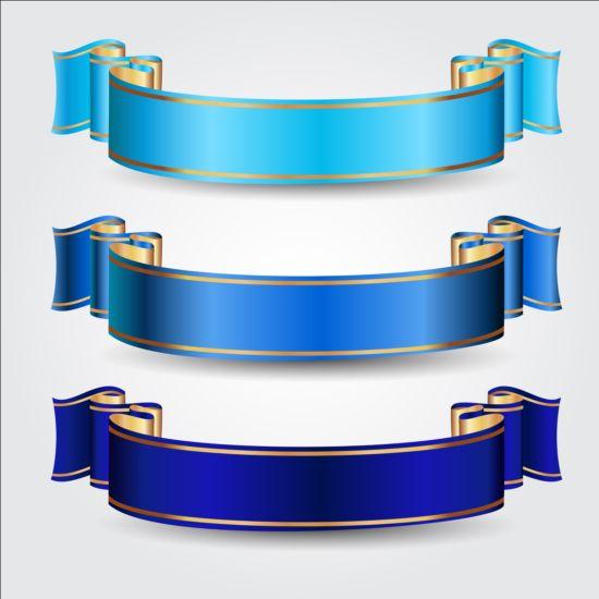 550x550 Ornate Blue Ribbons Vectors Free Download