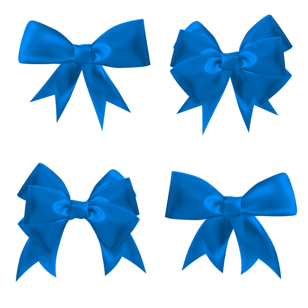 600x600 4 Blue Ribbon Bows Vector Free Download